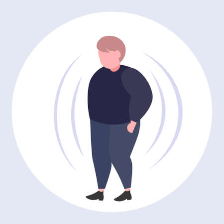fat obese man with big belly overweight guy standing pose obesity concept flat full length vector illustration