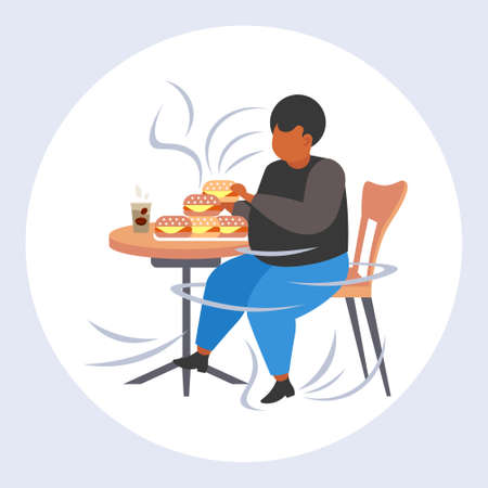 fat overweight man eating hamburgers obesity unhealthy nutrition fast food concept obese african american guy sitting at table having lunch over size male cartoon character full length flat vector illustration