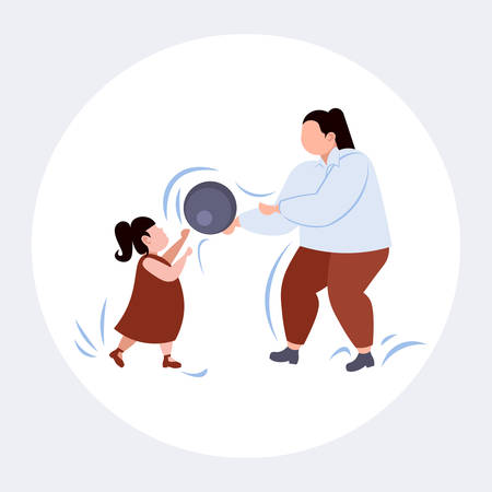 fat obese mother with daughter playing with ball overweight woman and child having fun together weight loss family fitness physical activity concept flat full length vector illustration Standard-Bild - 129965548