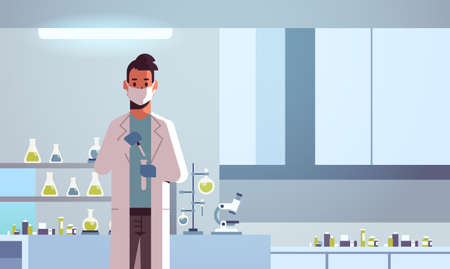 male scientific researcher holding test tube man in uniform working with flask scientist making experiment chemical research science concept modern laboratory interior horizontal portrait vector illustration Ilustrace