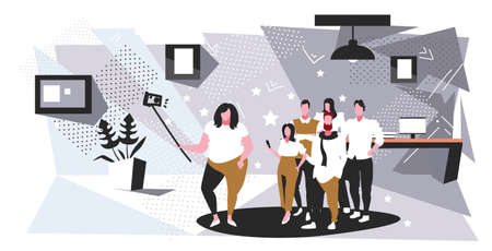 fat obese woman holding selfie stick businesswoman with colleagues group taking photo on smartphone camera coworkers team standing together modern office interior sketch full length horizontal vector illustration
