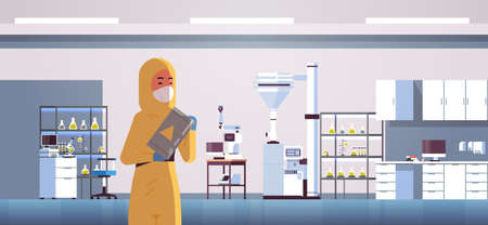 scientific researcher holding barrel with warning sign woman in protective suit working with chemicals research science concept modern lab interior horizontal portrait flat vector illustration  イラスト・ベクター素材