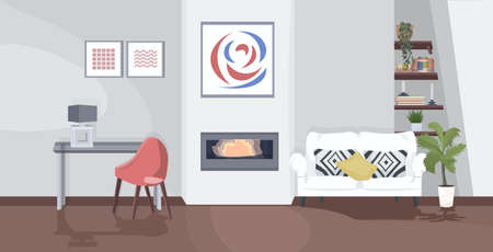 stylish home modern living room interior empty no people apartment with furniture and fireplace flat horizontal vector illustration