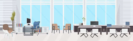 stylish workplace with computer monitor at office modern cabinet interior empty no people room with panoramic windows flat horizontal banner vector illustration