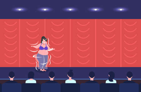fat overweight girl belly dancer performing smiling woman dancing on stage obesity weight loss concept modern concert room theater hall interior full length flat horizontal vector illustration