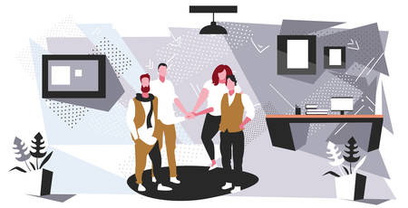 businesspeople group collaborating holding pile hands team spirit concept business people standing together teamwork modern office interior sketch horizontal full length vector illustration Illustration