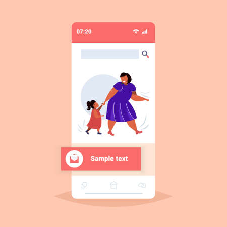 fat obese mother with daughter holding hands overweight woman and child walking together family having fun obesity concept smartphone screen online mobile app flat full length vector illustration