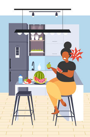 fat obese woman eating watermelon and apple fresh fruit diet african american girl healthy nutrition weight loss concept modern kitchen interior flat vertical full length vector illustration