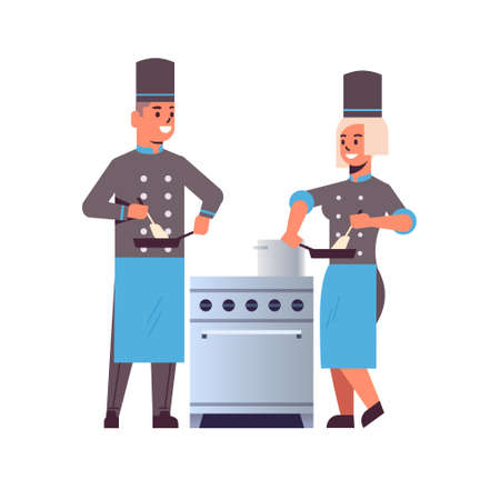 cooks couple professional chefs using frying pan stirring food man woman restaurant kitchen workers in uniform standing together near stove cooking concept flat full length vector illustration