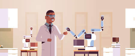 male scientist near industrial robotic arm man in uniform with robot manipulator smart medical machine automatic technology concept modern laboratory interior portrait horizontal flat vector illustration Иллюстрация