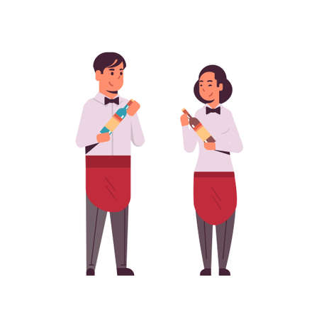 professional waiters couple holding bottles of wine man woman restaurant workers in red apron offering alcohol drinks flat full length white background vector illustration Foto de archivo - 129838108