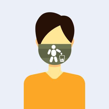 man wearing protective face mask with human putting rubbish into trash bin environment protection recycling concept guy profile avatar male cartoon character portrait flat vector illustration  イラスト・ベクター素材