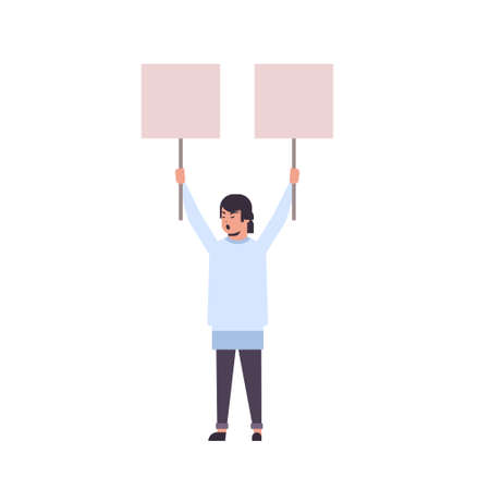 man protester holding blank placards male activist with empty sign banners protest demonstration strike concept flat full length vector illustration Фото со стока - 129838772