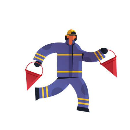 brave fireman holding red buckets firefighter wearing uniform and helmet firefighting emergency service extinguishing fire concept flat white background full length vector illustration Ilustracja
