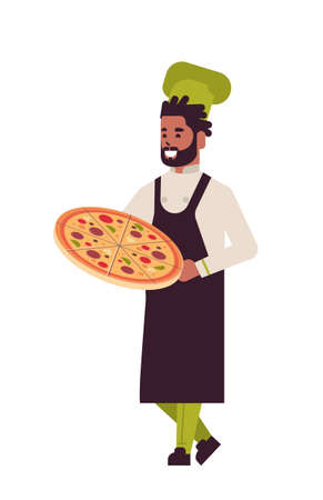 male professional chef cook holding tray with fresh pizza african american man restaurant kitchen worker in uniform cooking food concept flat full length vertical vector illustration Stock Illustratie