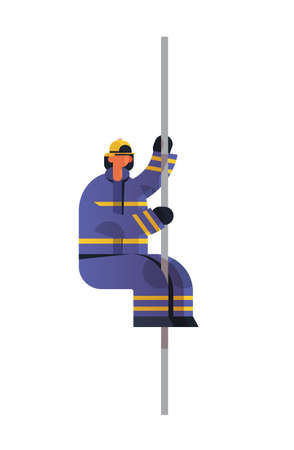 brave fireman sliding down the pole of fire station firefighter wearing uniform and helmet firefighting emergency service extinguishing fire concept flat vertical full length vector illustration
