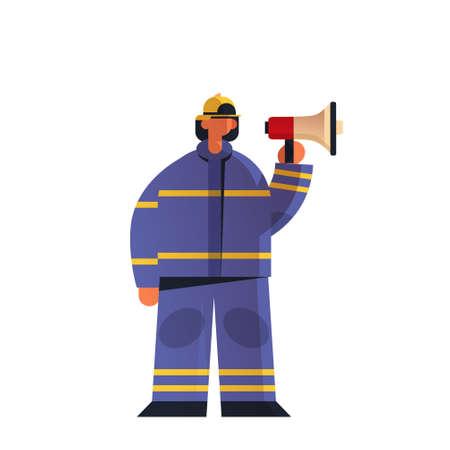 brave fireman holding megaphone loudspeaker firefighter wearing uniform and helmet firefighting emergency service extinguishing fire concept flat white background full length vector illustration