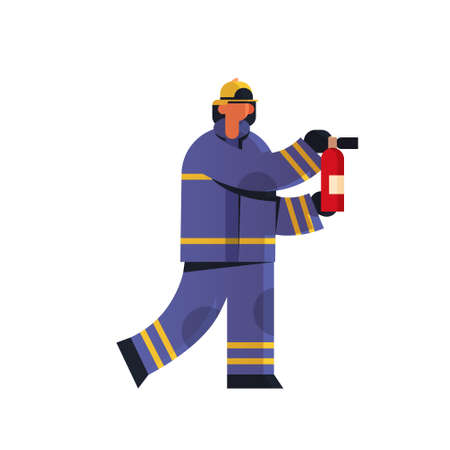 brave fireman holding extinguisher firefighter wearing uniform and helmet firefighting emergency service concept flat white background full length vector illustration