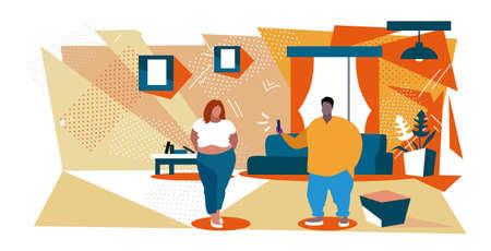 fat man using smartphone taking photo of obese overweight woman model shoot concept modern living room interior sketch horizontal full length vector illustration Illusztráció