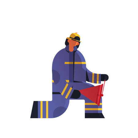 brave fireman using red buckets extinguishing fire firefighter wearing uniform and helmet firefighting emergency service concept flat white background full length vector illustration Ilustracja