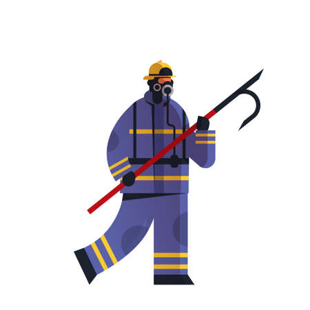brave fireman holding scrap firefighter wearing uniform firefighting emergency service extinguishing fire concept flat white background full length vector illustration Ilustracja