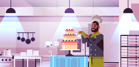 male professional chef pastry cook decorating tasty wedding cream cake african american man in uniform cooking food concept modern restaurant kitchen interior flat portrait horizontal vector illustration