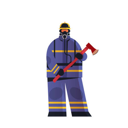 brave fireman holding axe firefighter wearing uniform and helmet firefighting emergency service extinguishing fire concept flat white background full length vector illustration