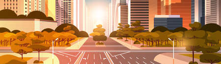 highway asphalt road with marking arrows traffic signs city skyline modern skyscrapers cityscape sunrise background flat horizontal vector illustration