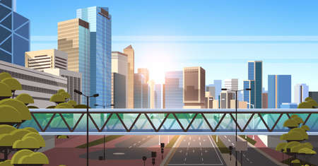 footbridge over highway asphalt road with marking arrows traffic signs city skyline modern skyscrapers cityscape sunshine background flat horizontal vector illustration Stock Illustratie