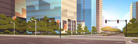 beautifil city street asphalt road with traffic light high skyscrapers modern cityscape background flat horizontal closeup vector illustration Illustration