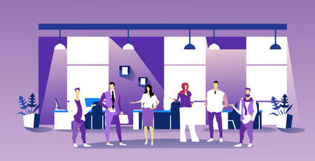 business people discussing new project during meeting conference businesspeople team brainstorming colleagues standing together modern office interior sketch full length horizontal vector illustration Illustration