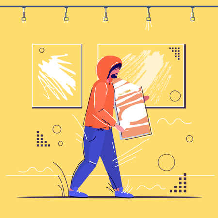 burglar stealing museum exhibits crime scene stealing theft concept robber holding picture modern art gallery interior sketch full length vector illustration 向量圖像