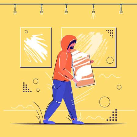 burglar stealing museum exhibits crime scene stealing theft concept robber holding picture modern art gallery interior sketch full length vector illustration Illustration