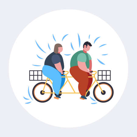 fat obese couple riding tandem bicycle overweight man woman cycling twin bike weight loss concept flat full length vector illustration