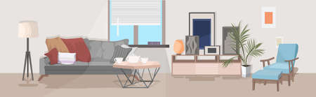 stylish home modern living room interior empty no people house room with furniture flat horizontal vector illustration