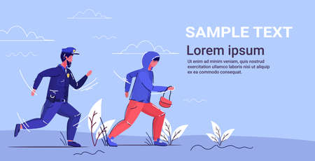 police officer trying to catch thief policeman in uniform pursuing burglar with womans bag security service concept robber running away from patrolman full length horizontal copy space vector illustration Ilustracja