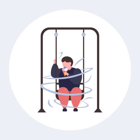 fat obese guy swinging and eating ice cream unhealthy nutrition obesity concept overweight man sitting on swing having fun flat full length vector illustration