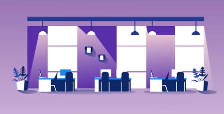 creative co-working center modern workspace empty no people cabinet with furniture office interior sketch horizontal vector illustration