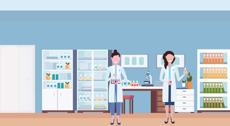 couple female scientists working in hospital laboratory women researchers holding test tubes workplace office furniture medical clinic lab interior horizontal flat vector illustration Иллюстрация
