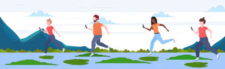 people using smartphones jumping over lotus leaves on river with crocodiles risk and danger determination digital addiction concept full length horizontal flat vector illustration