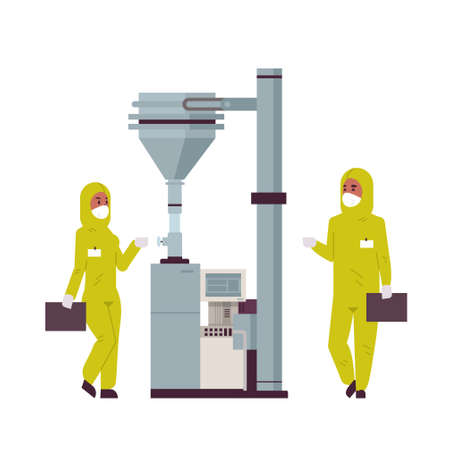 scientists couple working with control panel pressing start button on special machine african american man woman in protective suits pharmaceutical items production concept full length vector illustration Çizim