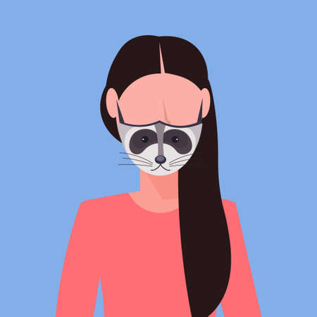 woman wearing protective mask with raccoon face smog air pollution virus protection concept girl profile avatar female cartoon character portrait flat vector illustration Ilustração