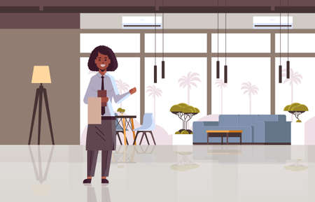 professional waitress holding menu warmly welcoming to cozy restaurant african american woman worker in apron showing hospitality modern cafe interior flat full length horizontal vector illustration
