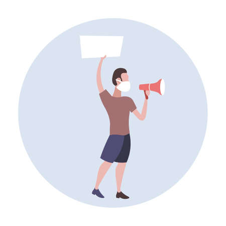man protester in face mask yelling into loudspeaker holding blank placard protesting against air nature pollution male activist with empty sign banner protest demonstration concept full length vector illustration