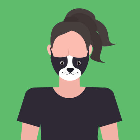 woman wearing protective mask with dog face smog air pollution virus protection concept girl profile avatar female cartoon character portrait flat vector illustration Ilustração
