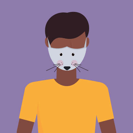 man wearing protective mask with mouse face smog air pollution virus protection concept african american guy profile avatar male cartoon character portrait flat vector illustration Ilustração