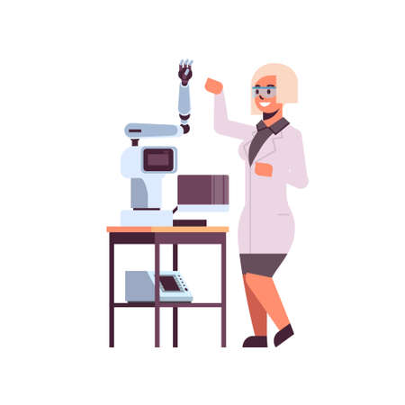 female scientist near industrial robotic arm woman in uniform with robot manipulator smart medical machine automatic technology concept full length flat vector illustration Illustration