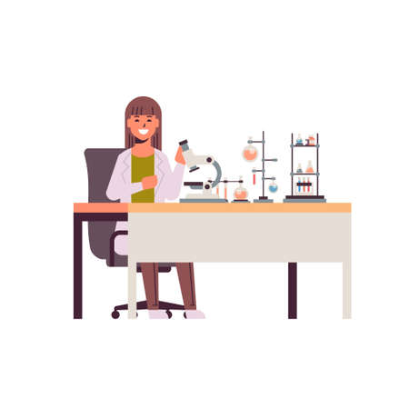 female scientist working with microscope woman in uniform sitting at table making scientific experiments chemistry laboratory with test tubes research science concept full length vector illustration 向量圖像