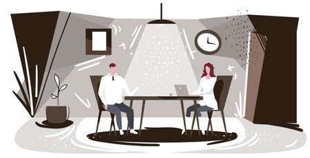 businesspeople sitting at workplace man dictating information to woman assistant typing text on laptop keyboard work dictation concept modern office interior sketch horizontal full length vector illustration