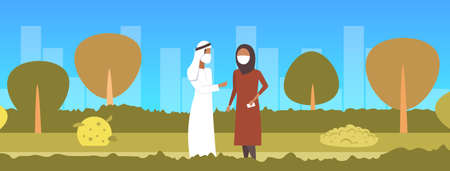 arab couple wearing face mask plant pipe dirty waste toxic air pollution industry smog polluted environment concept arabic man woman walking outdoor cityscape background full length horizontal vector illustration